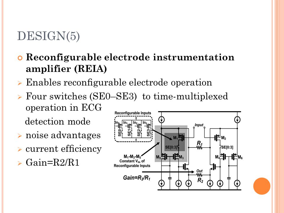 DESIGN(5) Reconfigurable electrode instrumentation amplifier (REIA)  Enables reconfigurable electrode operation  Four switches (SE0–SE3) to time-mult