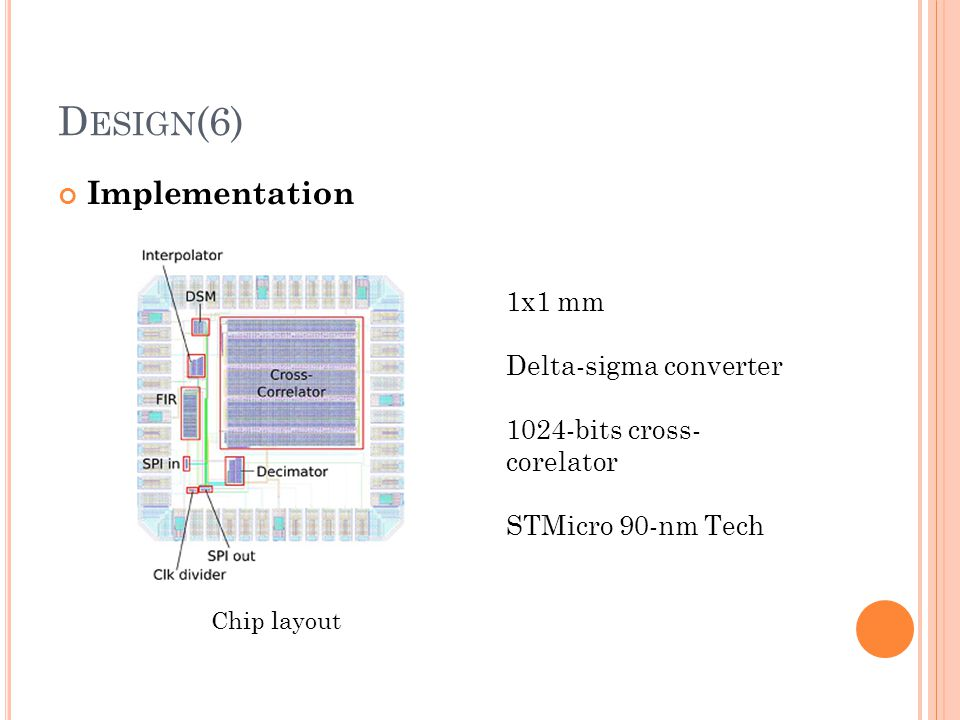 D ESIGN (6) Implementation Chip layout 1x1 mm Delta-sigma converter 1024-bits cross- corelator STMicro 90-nm Tech
