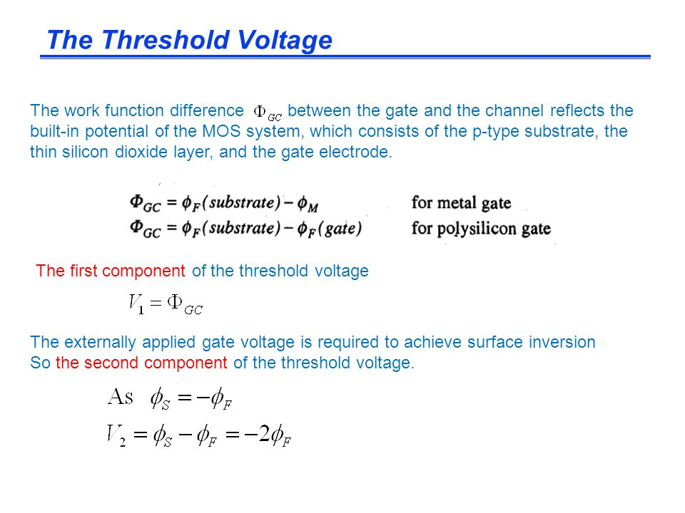 The externally applied gate voltage is required to achieve surface inversion So the second component of the threshold voltage. The work function diffe