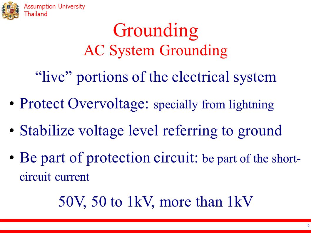 Assumption University Thailand Grounding AC System Grounding – 50V 10 NEC Standard The source –is stepped down from more than 150V –is stepped down from the ungrounded system Cable in over the ground outside the building
