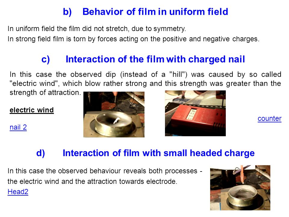 In uniform field the film did not stretch, due to symmetry.