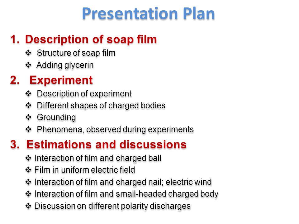 Presentation Plan 1.Description of soap film  Structure of soap film  Adding glycerin 2.