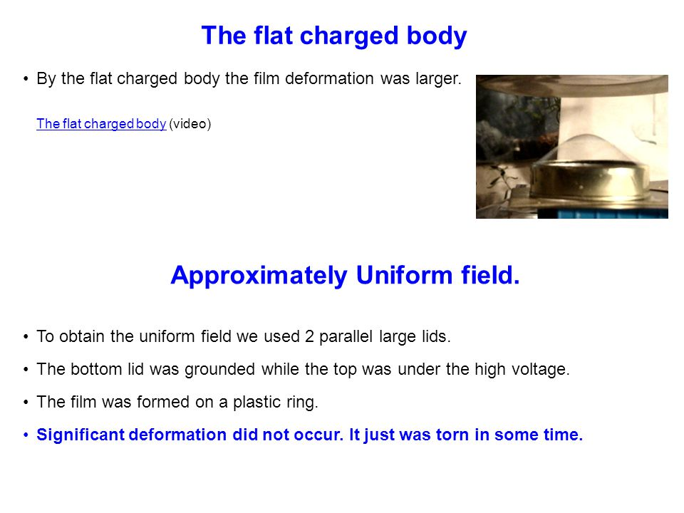 By the flat charged body the film deformation was larger.
