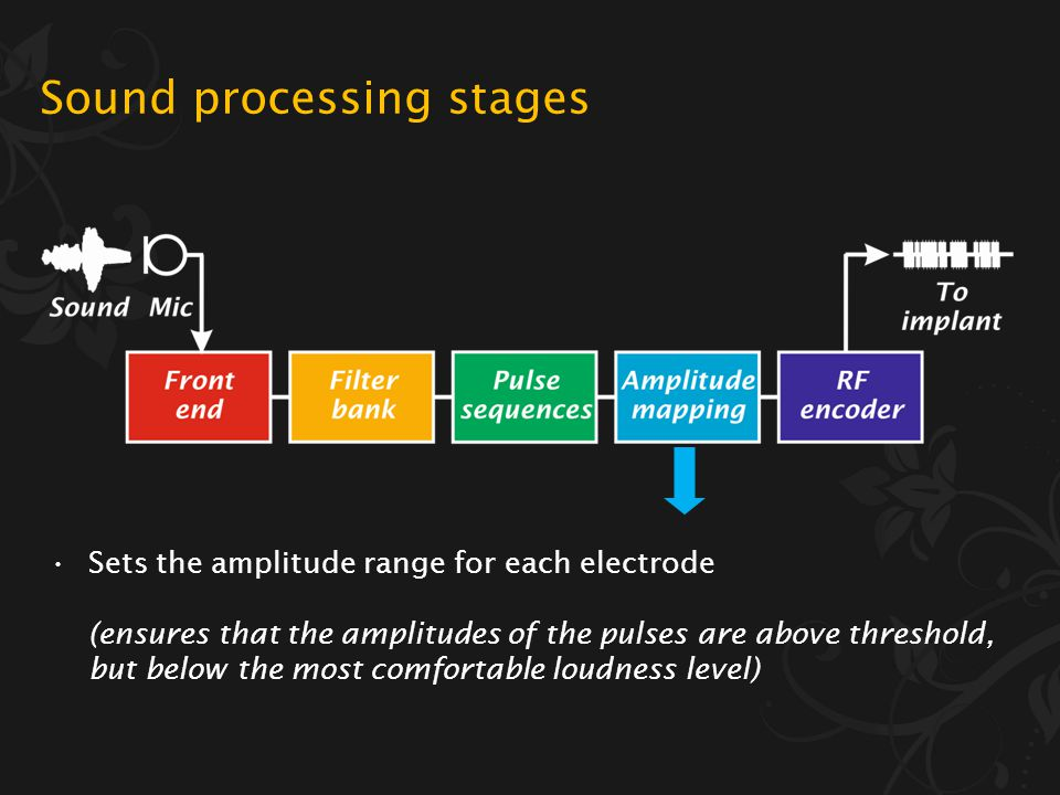 Sound processing stages Generates the pulse sequences for each electrode