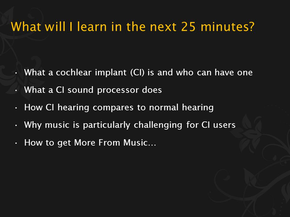More From Music music through a cochlear implant Dr Rachel van Besouw Hearing & Balance Centre, ISVR