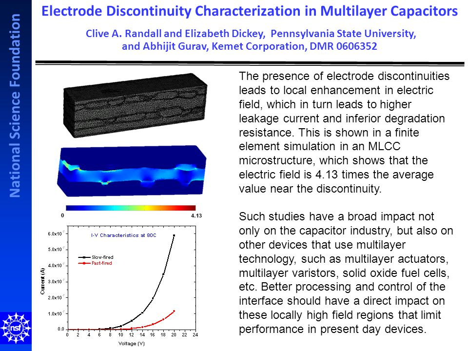 National Science Foundation The presence of electrode discontinuities leads to local enhancement in electric field, which in turn leads to higher leakage current and inferior degradation resistance.