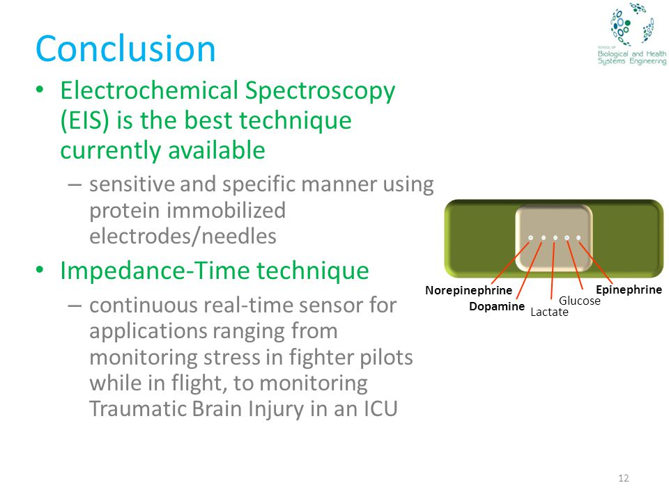 Conclusion Electrochemical Spectroscopy (EIS) is the best technique currently available – sensitive and specific manner using protein immobilized electrodes/needles Impedance-Time technique – continuous real-time sensor for applications ranging from monitoring stress in fighter pilots while in flight, to monitoring Traumatic Brain Injury in an ICU 12 Glucose Lactate Epinephrine Dopamine Norepinephrine