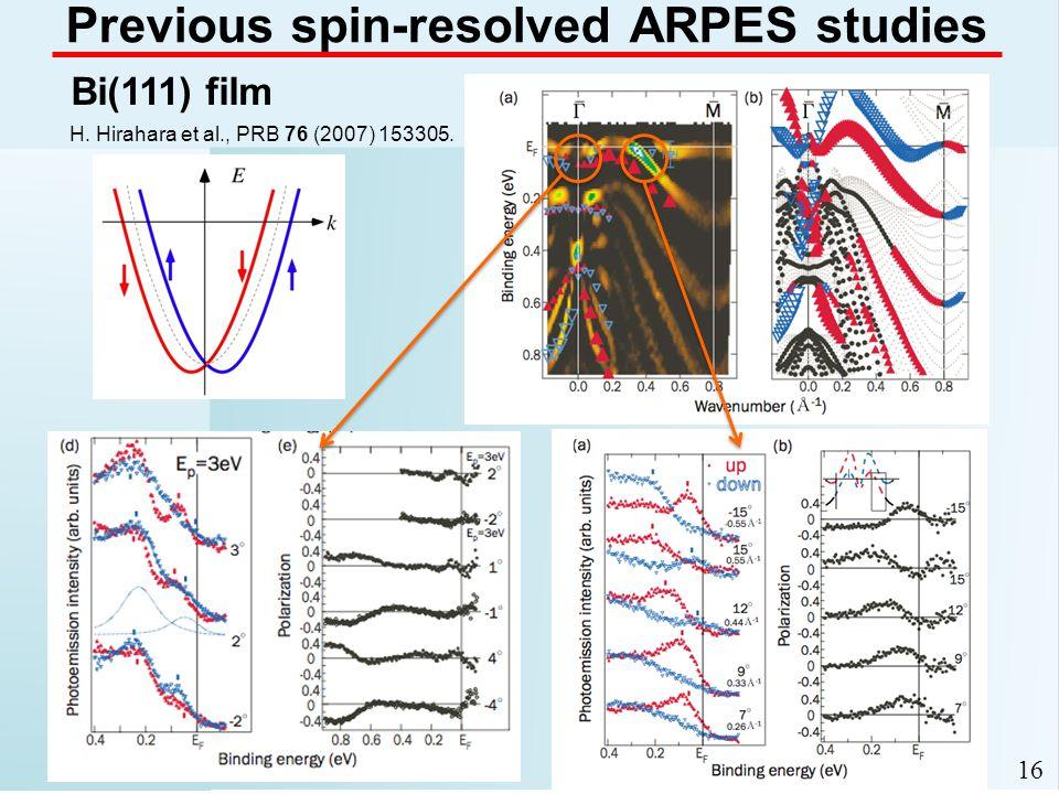 16 Previous spin-resolved ARPES studies Bi(111) film H. Hirahara et al., PRB 76 (2007) 153305.