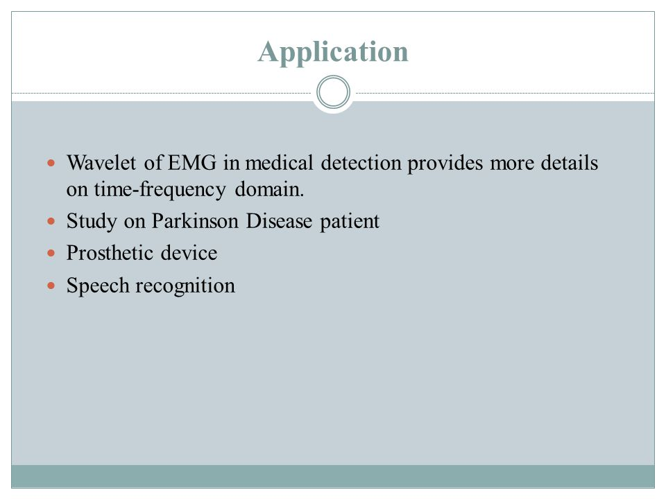 Application Wavelet of EMG in medical detection provides more details on time-frequency domain.