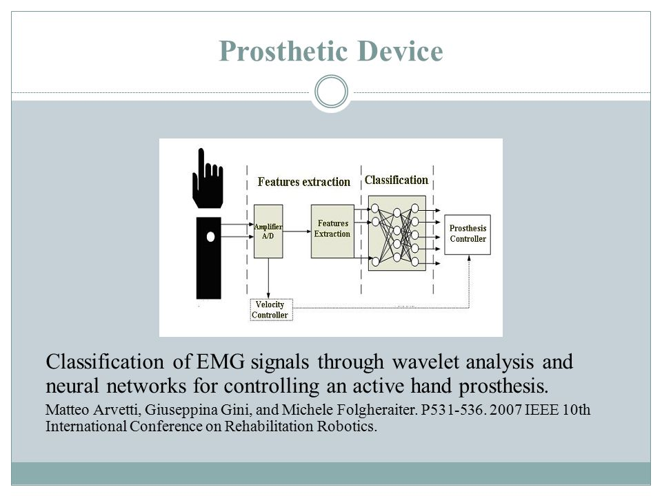 Prosthetic Device Classification of EMG signals through wavelet analysis and neural networks for controlling an active hand prosthesis.