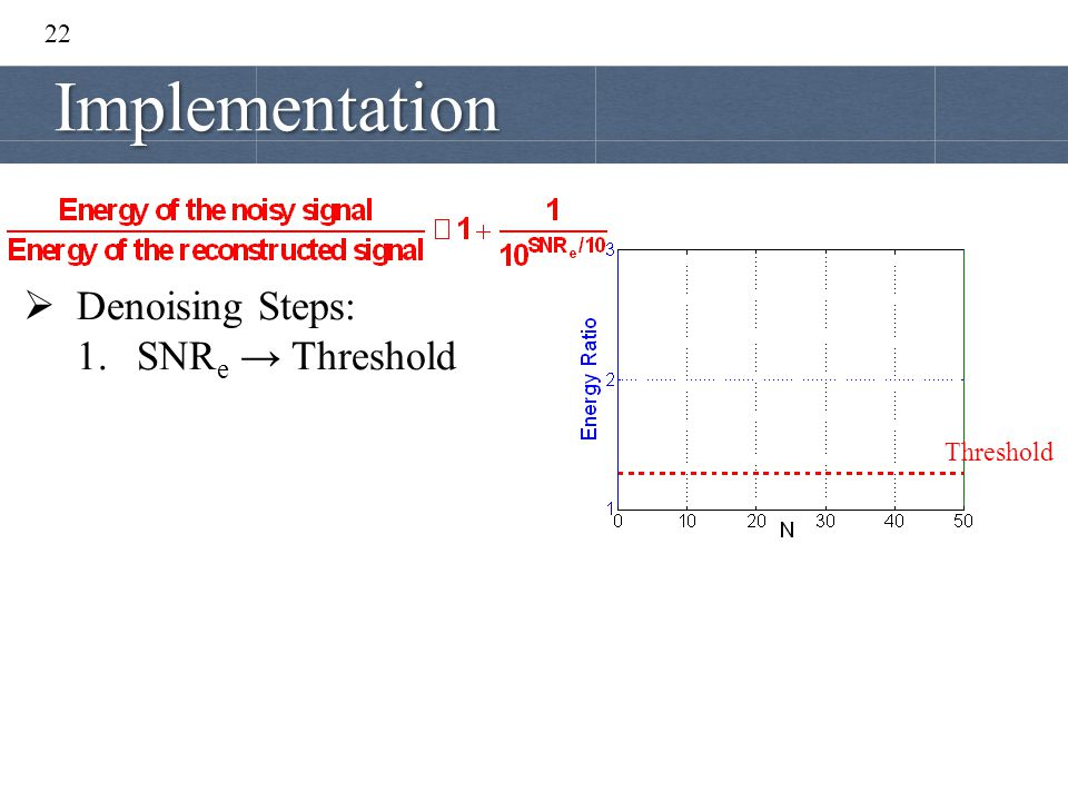 22 Implementation Threshold  Denoising Steps: 1.SNR e → Threshold