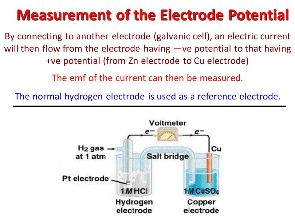Measurement of the Electrode Potential By connecting to another electrode (galvanic cell), an electric current will then flow from the electrode havin