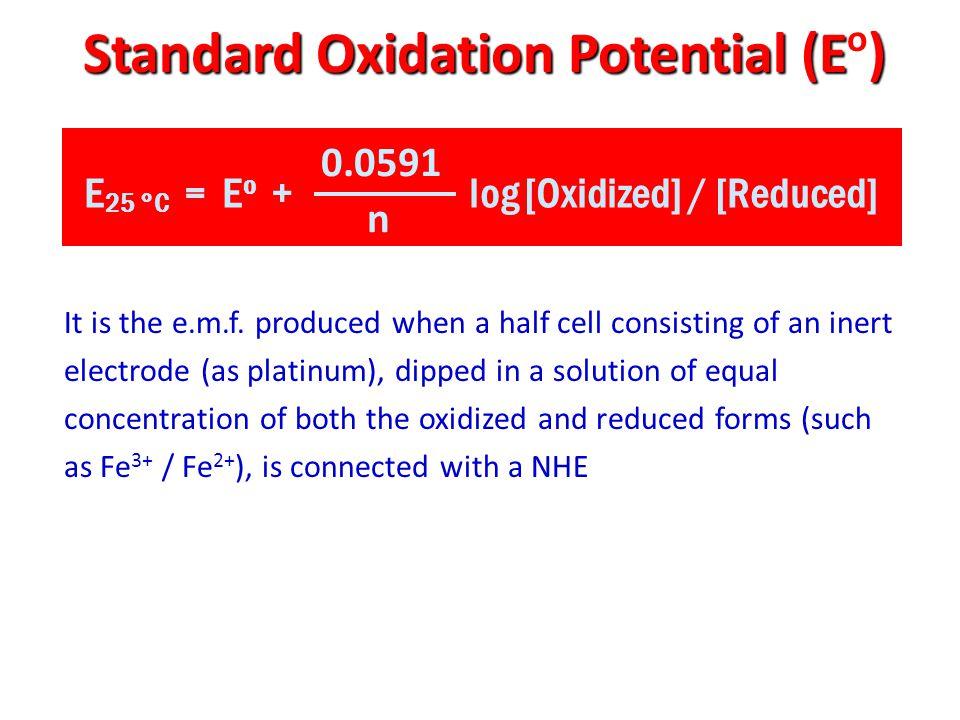 Standard Oxidation Potential (E) Standard Oxidation Potential (E o ) E 25 °C = E o + log [Oxidized] / [Reduced] 0.0591 n It is the e.m.f.