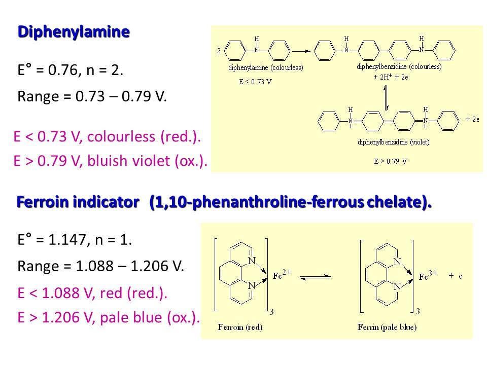 Diphenylamine E < 0.73 V, colourless (red.).E > 0.79 V, bluish violet (ox.).