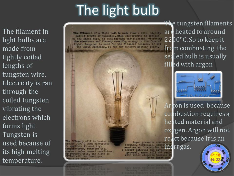 The filament in light bulbs are made from tightly coiled lengths of tungsten wire.