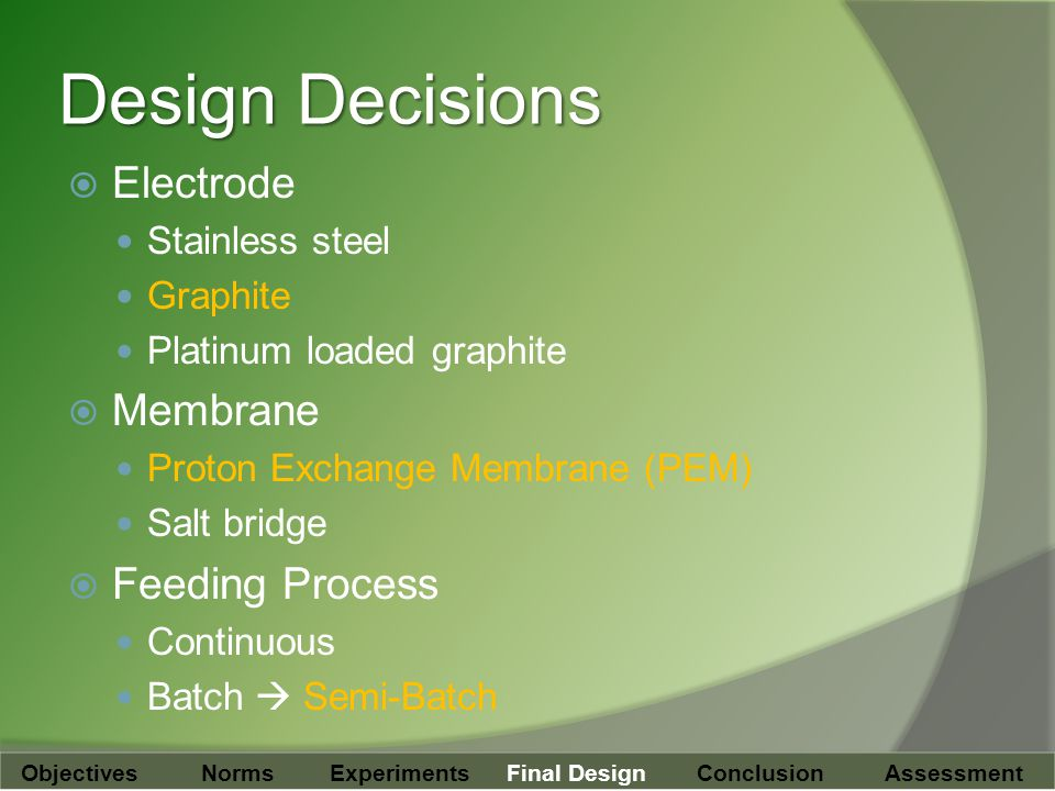 Design Decisions  Electrode Stainless steel Graphite Platinum loaded graphite  Membrane Proton Exchange Membrane (PEM) Salt bridge  Feeding Process Continuous Batch  Semi-Batch