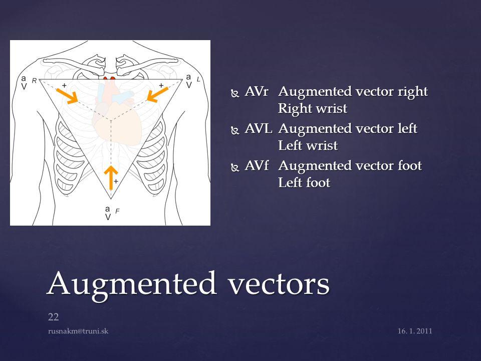  AVrAugmented vector right Right wrist  AVLAugmented vector left Left wrist  AVfAugmented vector foot Left foot Augmented vectors 16. 1. 2011 22 ru