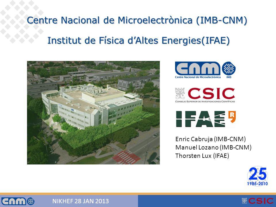 1 NIKHEF 28 JAN 2013 Centre Nacional de Microelectrònica (IMB-CNM) Institut de Física d'Altes Energies(IFAE) Enric Cabruja (IMB-CNM) Manuel Lozano (IMB-CNM) Thorsten Lux (IFAE)