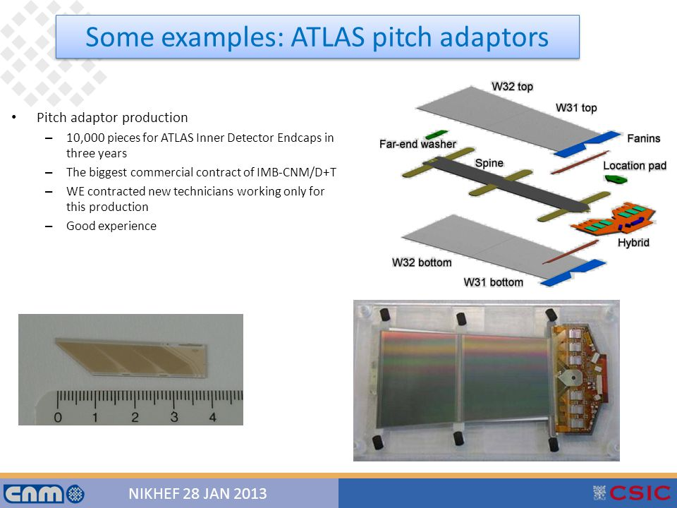 15 NIKHEF 28 JAN 2013 Pitch adaptor production – 10,000 pieces for ATLAS Inner Detector Endcaps in three years – The biggest commercial contract of IMB-CNM/D+T – WE contracted new technicians working only for this production – Good experience Some examples: ATLAS pitch adaptors