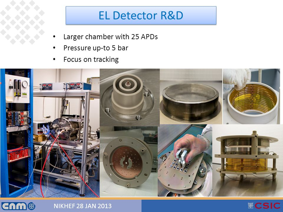 24 NIKHEF 28 JAN 2013 13/12/201224 Larger chamber with 25 APDs Pressure up-to 5 bar Focus on tracking EL Detector R&D