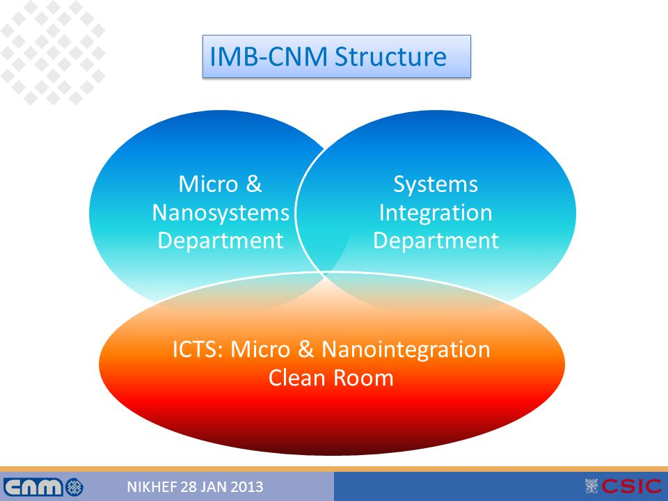 4 NIKHEF 28 JAN 2013 IMB-CNM Structure Micro & Nanosystems Department Systems Integration Department ICTS: Micro & Nanointegration Clean Room