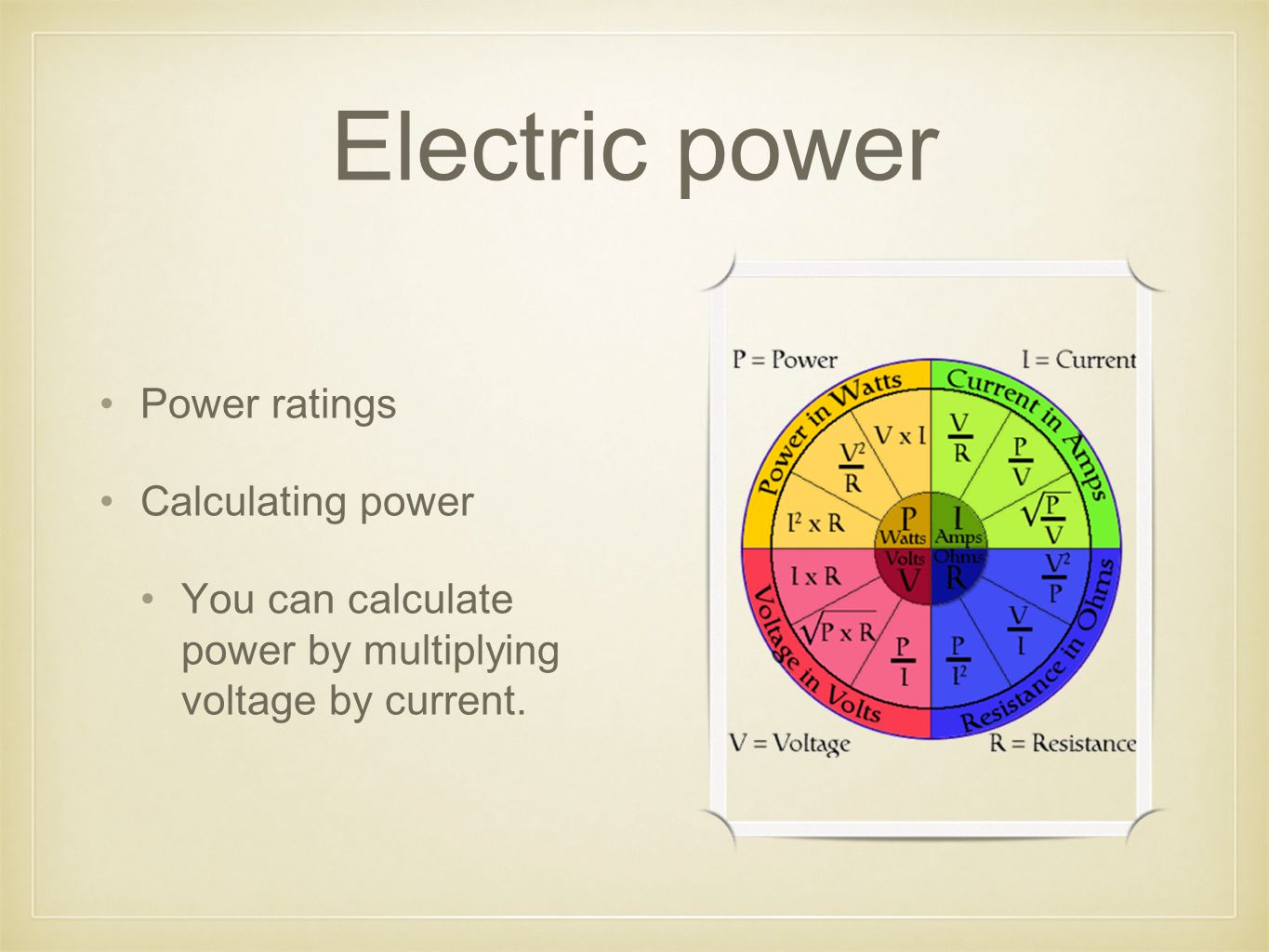Electric power Power ratings Calculating power You can calculate power by multiplying voltage by current.