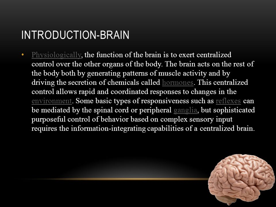 INTRODUCTION-BRAIN Physiologically, the function of the brain is to exert centralized control over the other organs of the body.