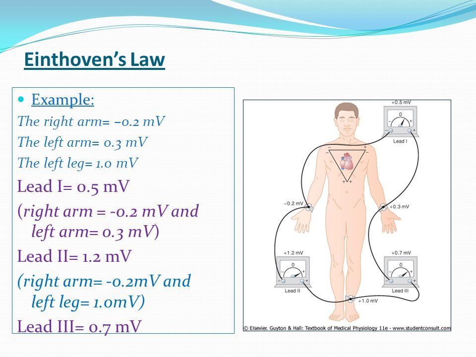 Example: The right arm= –0.2 mV The left arm= 0.3 mV The left leg= 1.0 mV Lead I= 0.5 mV (right arm = -0.2 mV and left arm= 0.3 mV) Lead II= 1.2 mV (r