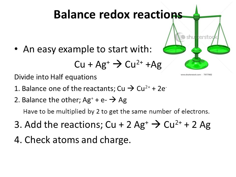 Balance redox reactions An easy example to start with: Cu + Ag +  Cu 2+ +Ag Divide into Half equations 1.