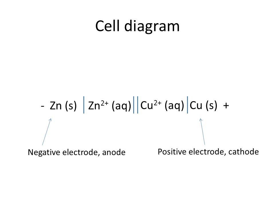 Cell diagram - Zn (s) Zn 2+ (aq) Cu 2+ (aq) Cu (s) + Negative electrode, anode Positive electrode, cathode