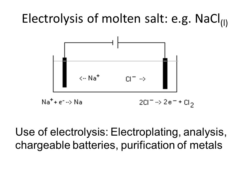 Electrolysis of molten salt: e.g.