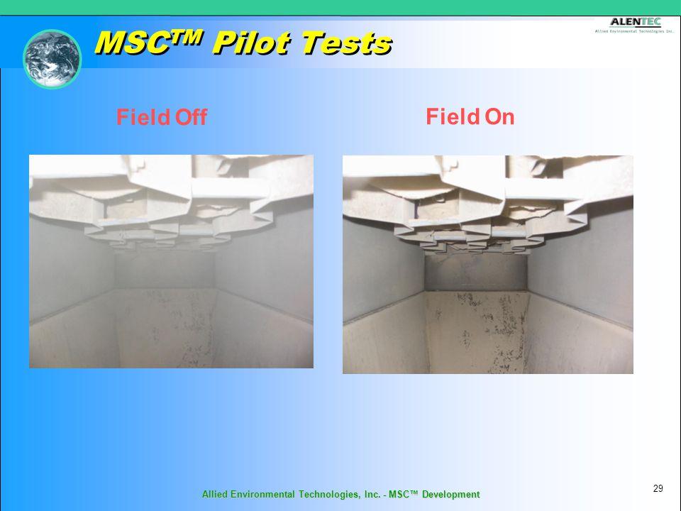 MSC TM Pilot Tests Field Off Field On 29 Allied Environmental Technologies, Inc. - MSC™ Development