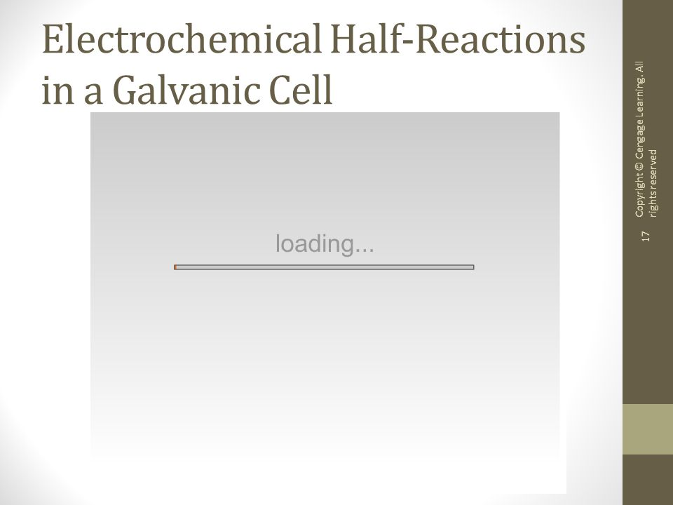 Copyright © Cengage Learning. All rights reserved 17 Electrochemical Half-Reactions in a Galvanic Cell