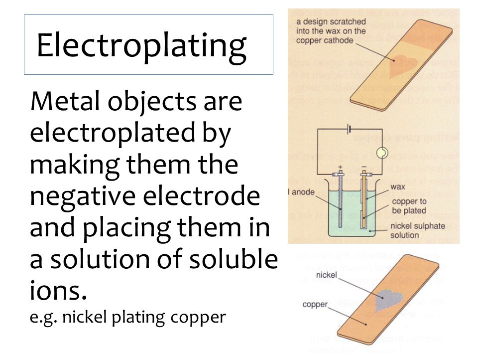 Electroplating Metal objects are electroplated by making them the negative electrode and placing them in a solution of soluble ions. e.g. nickel plati