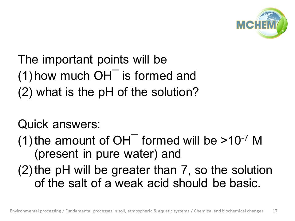 The important points will be (1)how much OH¯ is formed and (2) what is the pH of the solution.