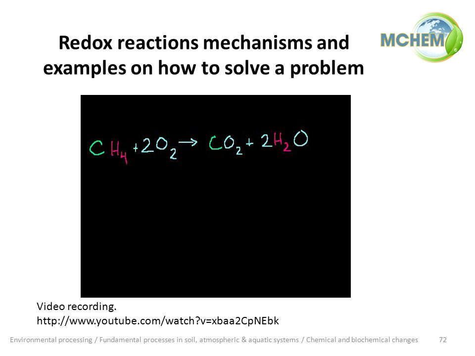 Redox reactions mechanisms and examples on how to solve a problem Environmental processing / Fundamental processes in soil, atmospheric & aquatic systems / Chemical and biochemical changes72 Video recording.