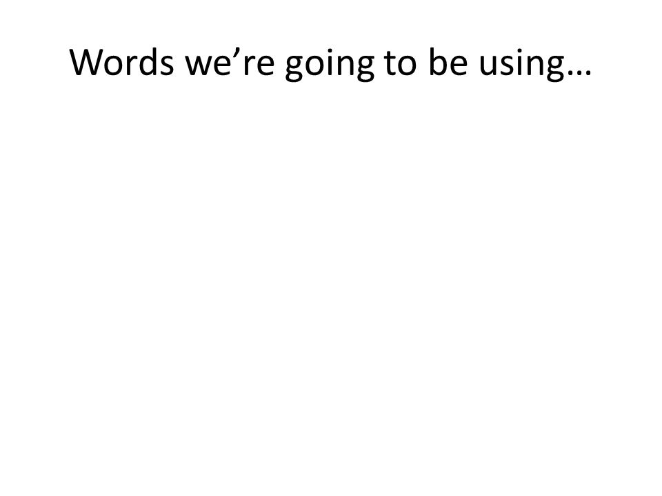 Words we're going to be using…