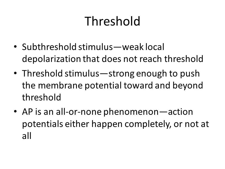 Threshold Subthreshold stimulus—weak local depolarization that does not reach threshold Threshold stimulus—strong enough to push the membrane potentia