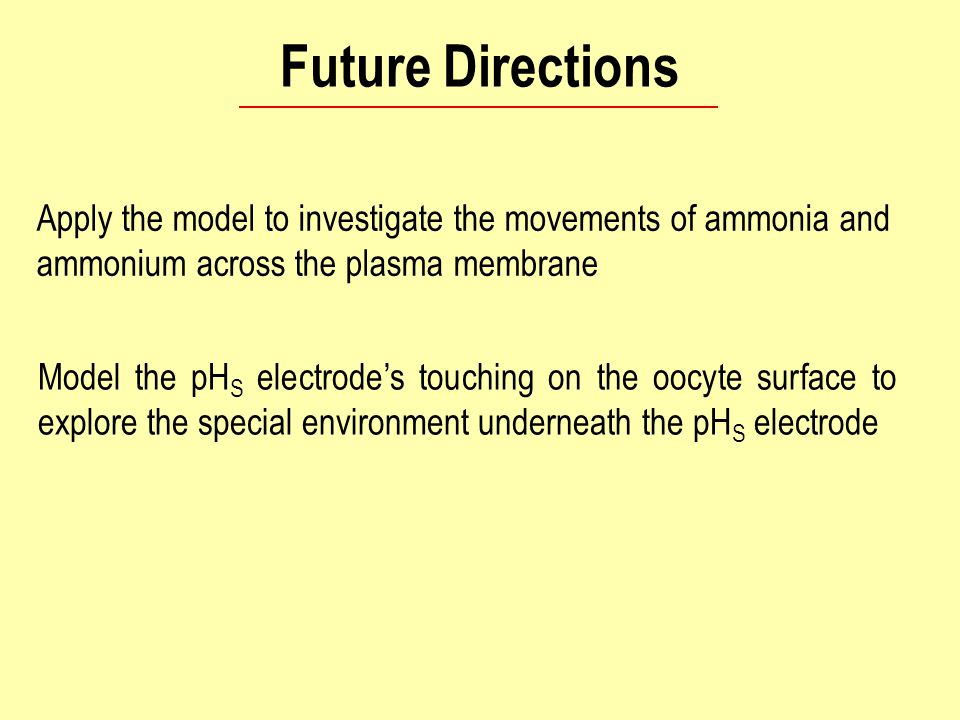 Future Directions Apply the model to investigate the movements of ammonia and ammonium across the plasma membrane Model the pH S electrode's touching on the oocyte surface to explore the special environment underneath the pH S electrode