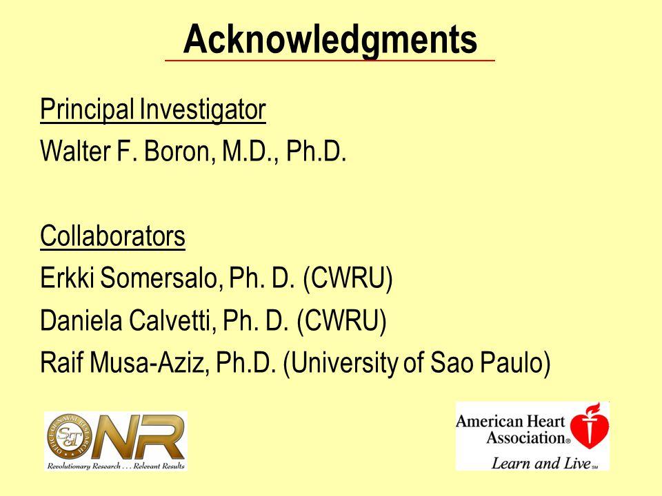 Acknowledgments Principal Investigator Walter F. Boron, M.D., Ph.D. Collaborators Erkki Somersalo, Ph. D. (CWRU) Daniela Calvetti, Ph. D. (CWRU) Raif