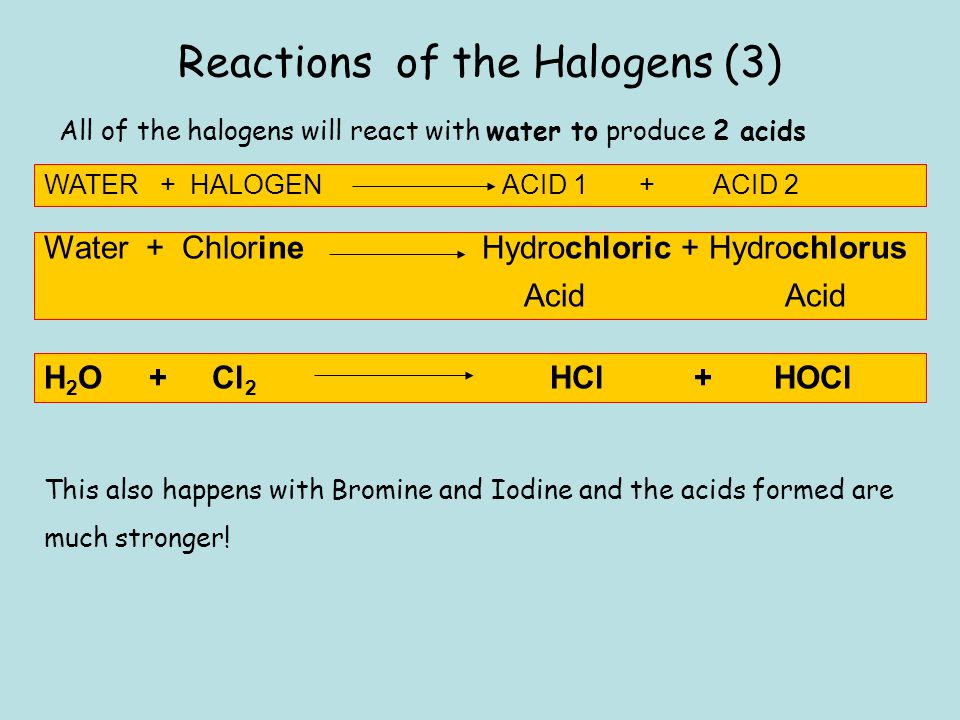 Reactions of the Halogens (3) All of the halogens will react with water to produce 2 acids WATER + HALOGEN ACID 1 + ACID 2 Water + Chlorine Hydrochlor
