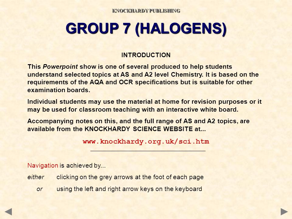 OTHER REACTIONS OF CHLORINE Water Halogens react with decreasing vigour down the group as their oxidising power decreases Litmus will be turned red then decolourised in chlorine water C l 2 (g) + H 2 O (l) HC l (aq) + HOC l (aq) strong acid bleaches by oxidation