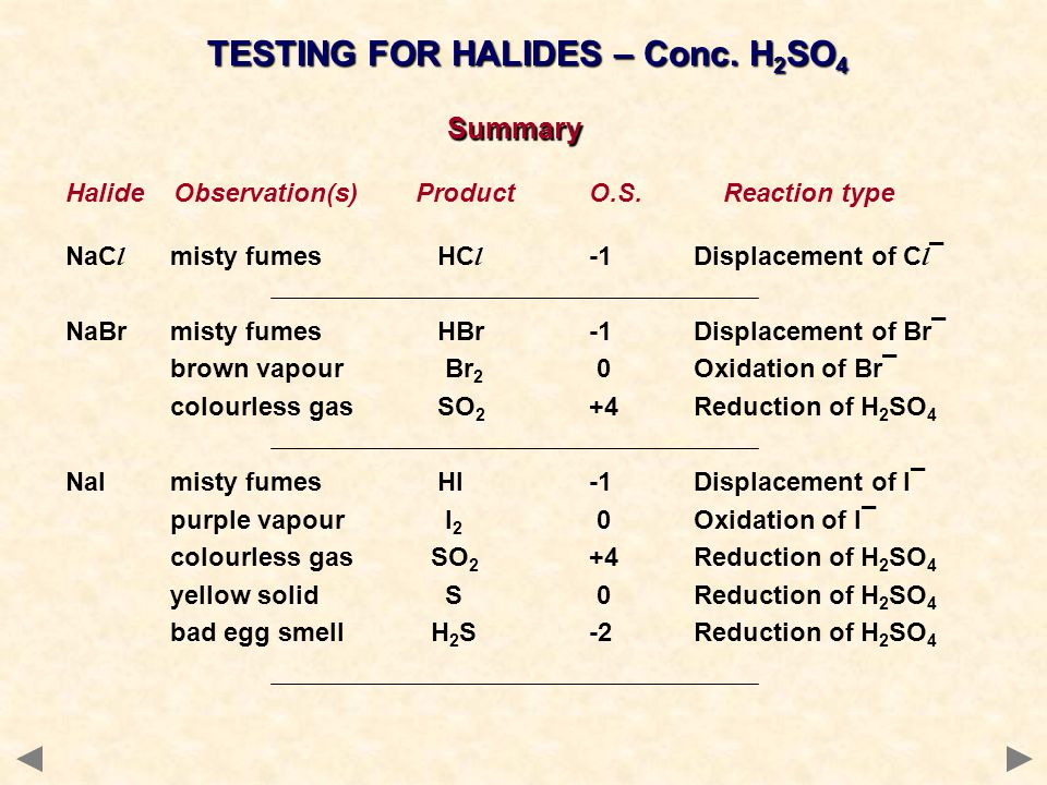 Summary Halide Observation(s) Product O.S. Reaction type NaC l misty fumes HC l -1Displacement of C l ¯ NaBrmisty fumes HBr-1Displacement of Br¯ brown