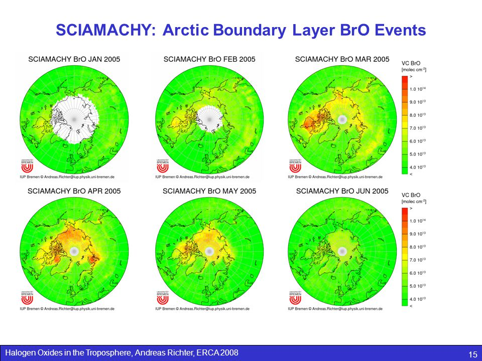 Halogen Oxides in the Troposphere, Andreas Richter, ERCA 2008 15 SCIAMACHY: Arctic Boundary Layer BrO Events