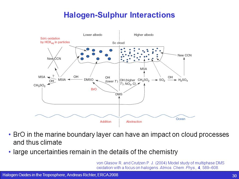 Halogen Oxides in the Troposphere, Andreas Richter, ERCA 2008 30 Halogen-Sulphur Interactions von Glasow R. and Crutzen P. J. (2004) Model study of mu
