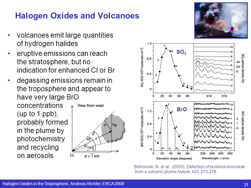 Halogen Oxides in the Troposphere, Andreas Richter, ERCA 2008 31 Halogen Oxides and Volcanoes volcanoes emit large quantities of hydrogen halides erup