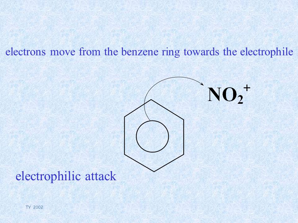 TY 2002 electrons move from the benzene ring towards the electrophile electrophilic attack