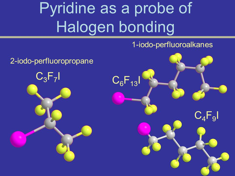 Pyridine as a probe of Halogen bonding C4F9IC4F9I C 6 F 13 I C3F7IC3F7I 2-iodo-perfluoropropane 1-iodo-perfluoroalkanes
