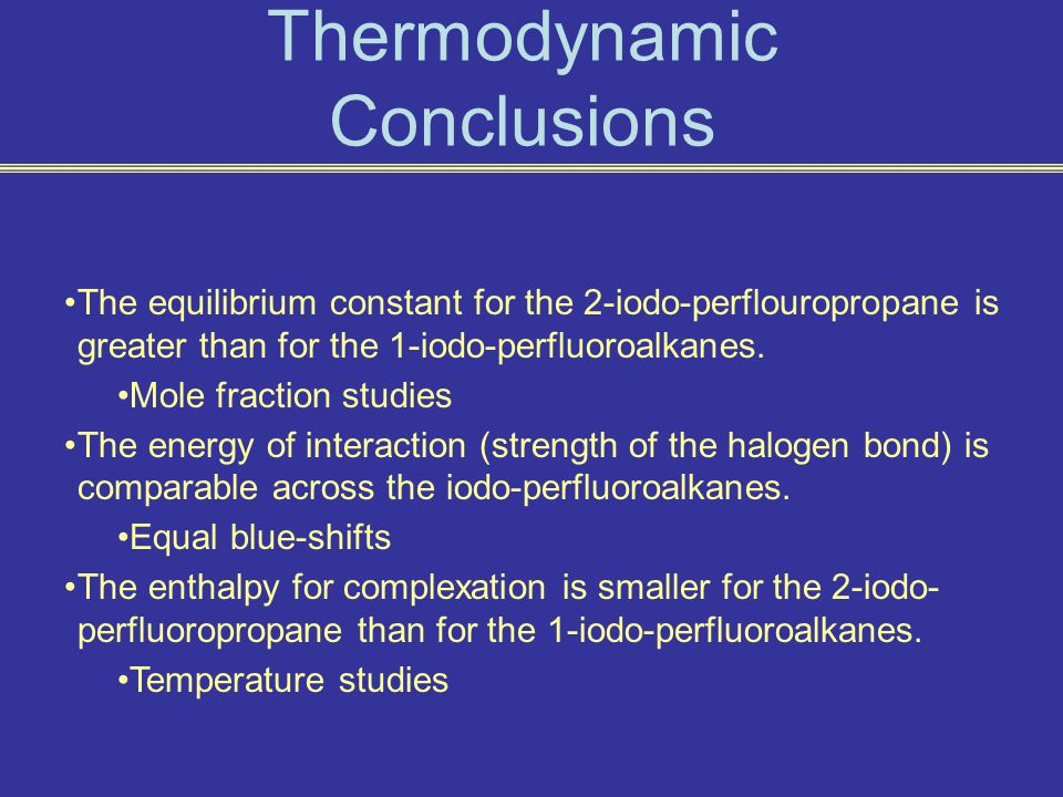 Thermodynamic Conclusions The equilibrium constant for the 2-iodo-perflouropropane is greater than for the 1-iodo-perfluoroalkanes.