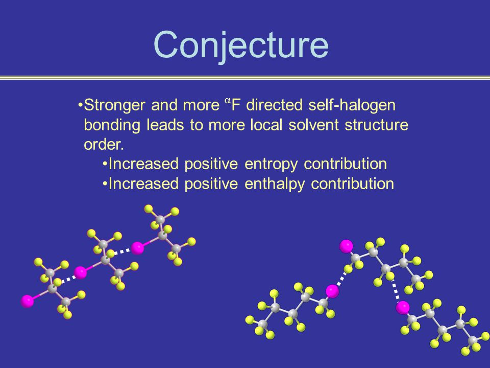 Conjecture Stronger and more  F directed self-halogen bonding leads to more local solvent structure order.